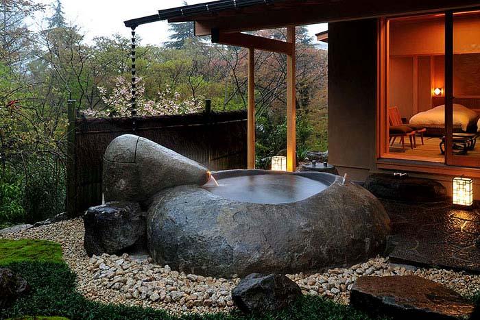 asian style garden water basin stone