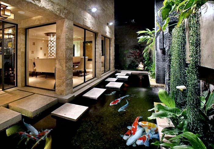 modern house design koi fish pond backyard