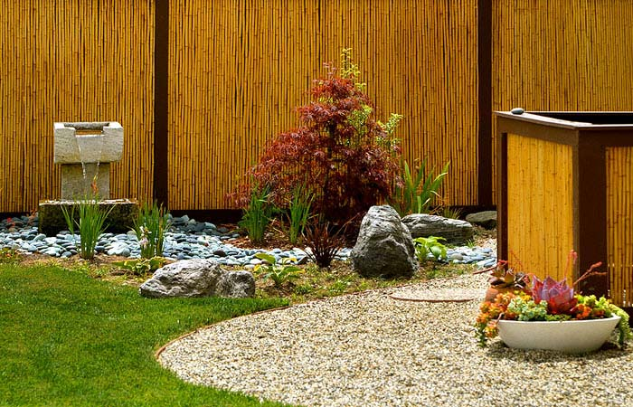 modern zen garden bamboo design idea