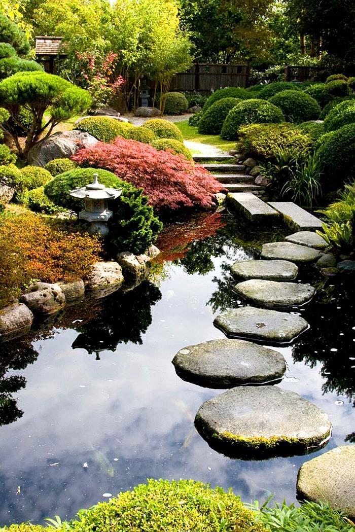 stepping stone pathway water garden