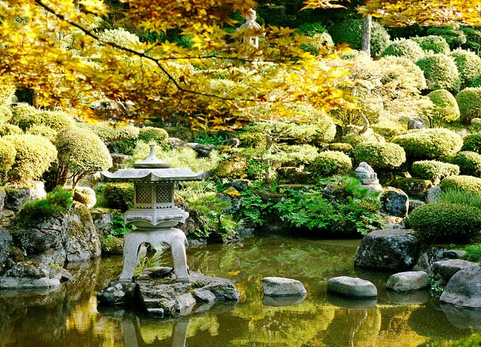 stepping stone water pathway island lantern