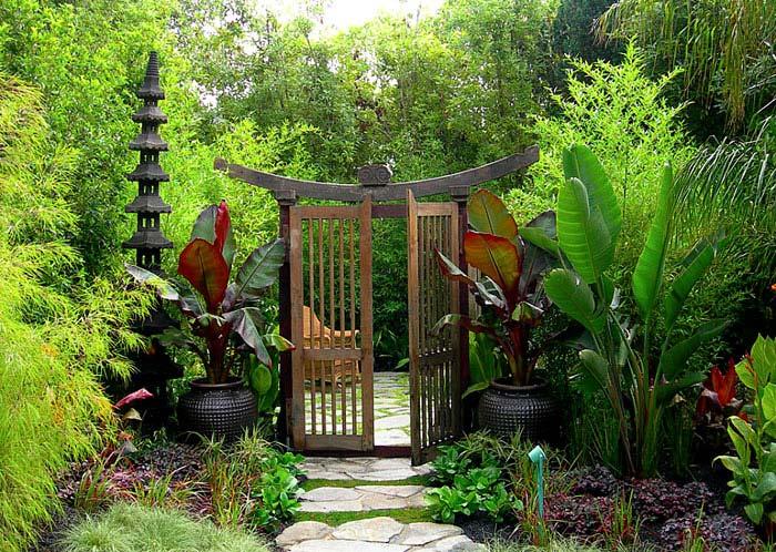 torii asian garden wooden gate