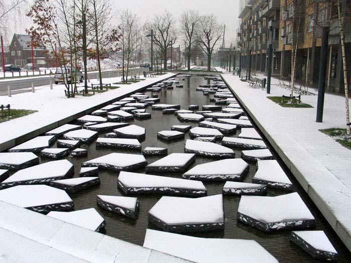 zen inspired urban environment winter