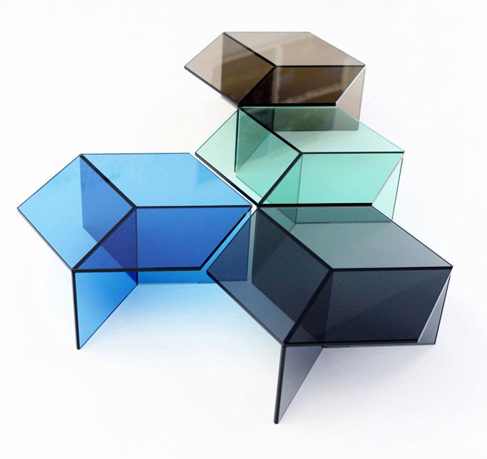 hexagonal glass tables sebastian scherer 1