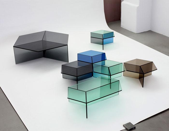 hexagonal glass tables sebastian scherer