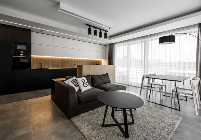 Black And White With Wooden Accents Apartment By Rimartus