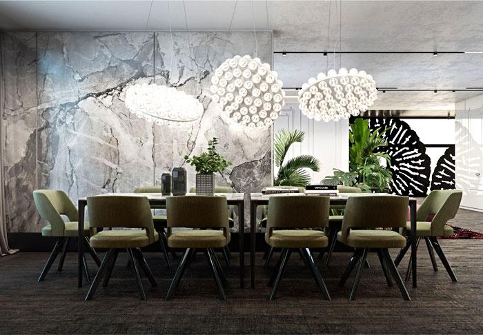 dining room marble walls decor ideas 5