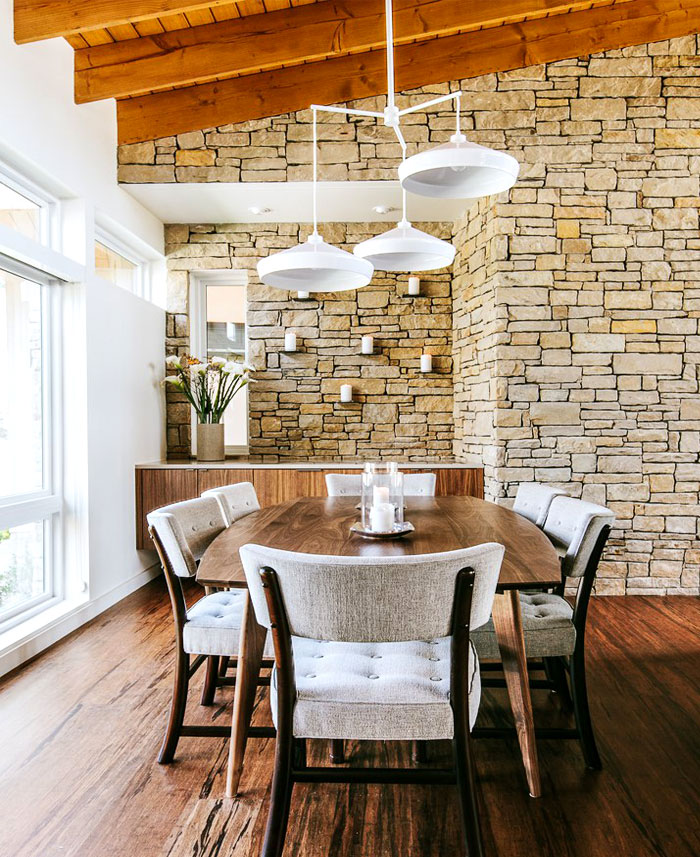 dining room stone walls decor ideas 4