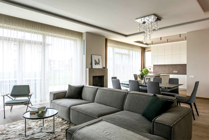 The Color Base That Combines Whites And Cappuccino Hues Is Underlined By  Dark Gray Accents. The Furniture Pieces Are Comfortable With Classic Clean  Lines ...