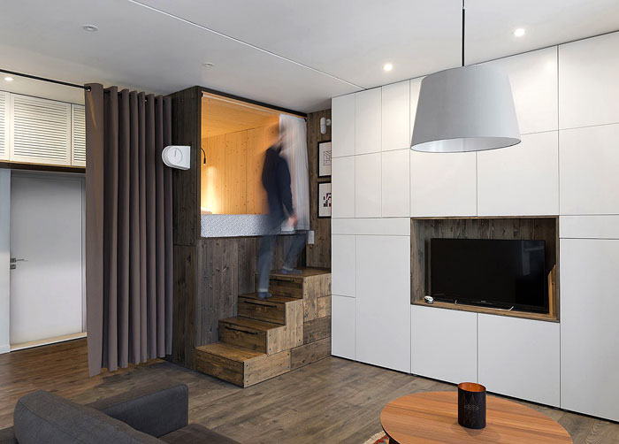 contrasting textures floor and ceiling