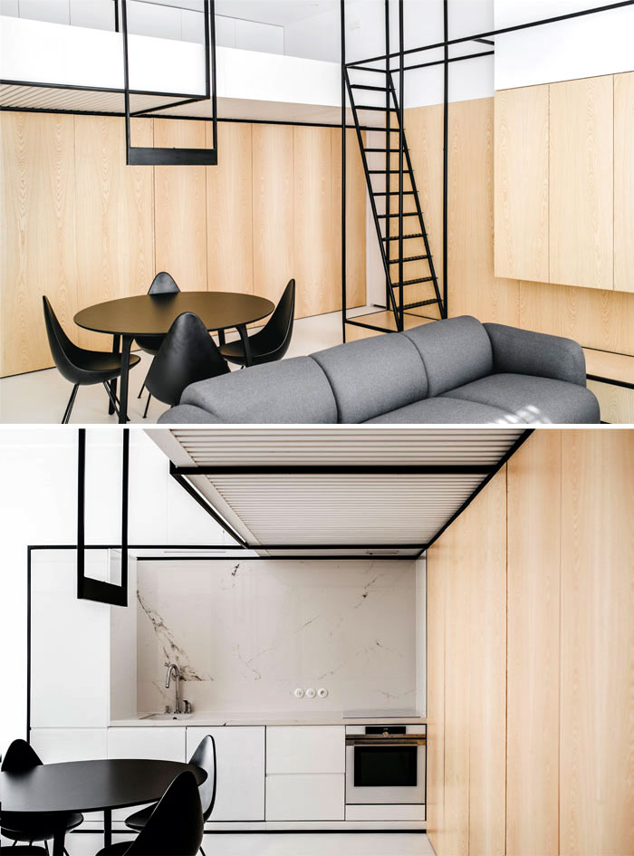 metal fretwork with transparent qualities tiny living space