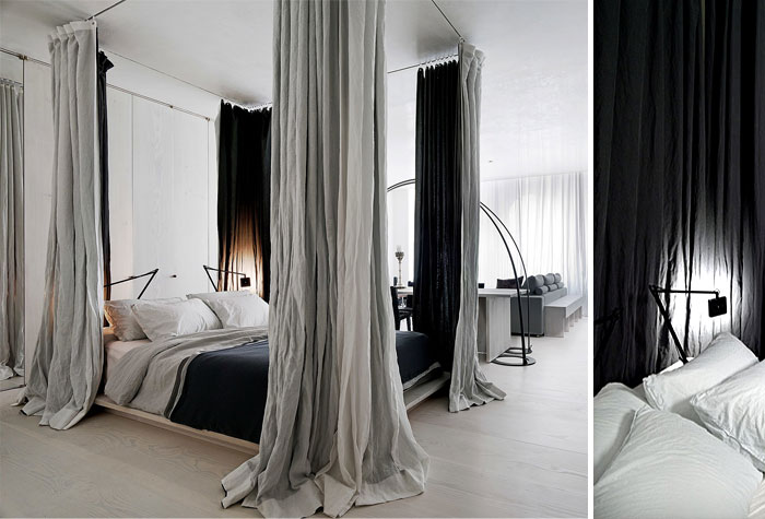 separate bedroom zone with curtains small space design