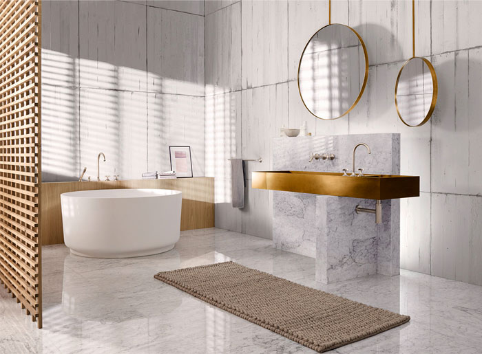 bath design trends freestanding tub marble
