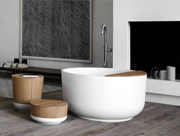 bathroom design trends round bathtub ethno style