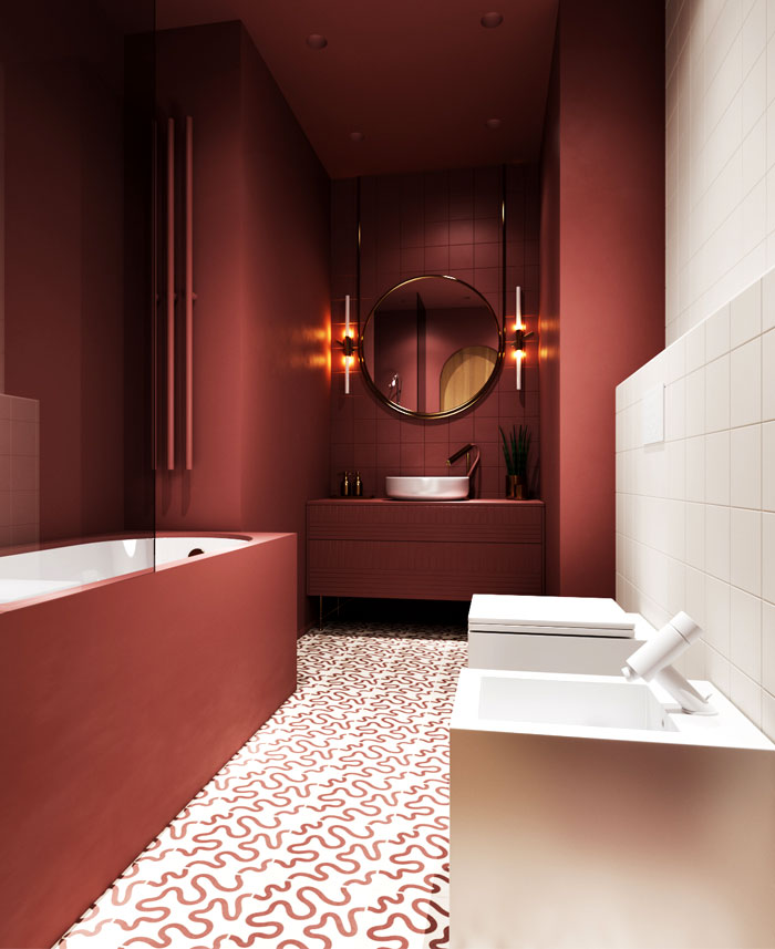modern bathroom colors marsala
