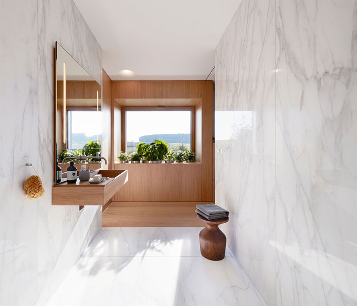 modern bathroom design marble wood