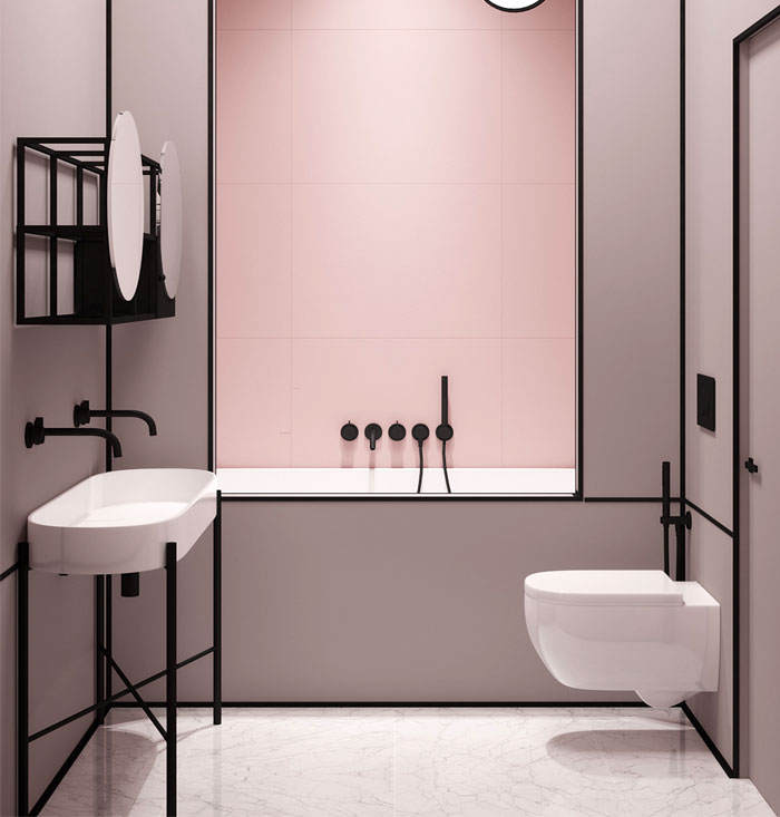 popular bathroom color pink and black