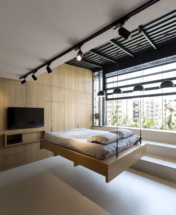 hide a bed idea elevating the bed metal ropes