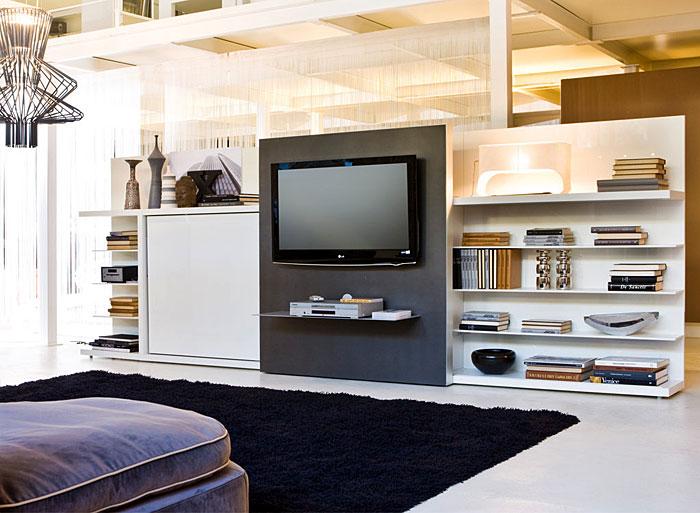 horizontal murphy bed behind tv set