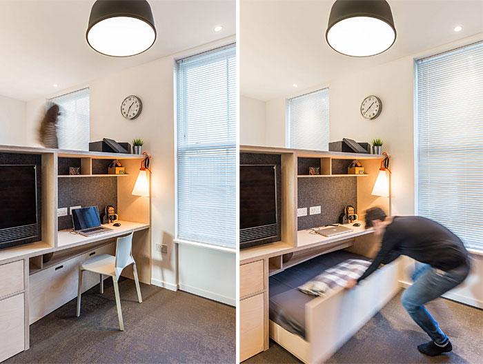 sliding hideaway bed under the desk design idea