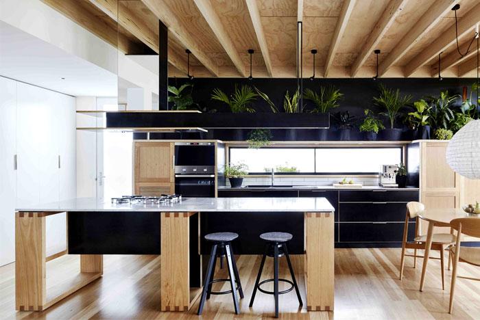 black white colour palette kitchen open concept