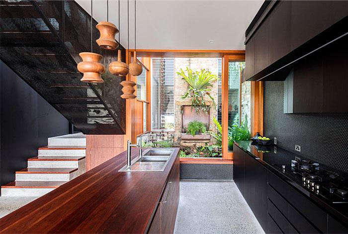 black white indoor outdoor kitchen
