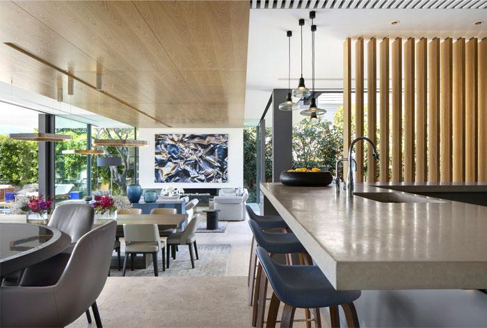 g shaped kitchen living room decor