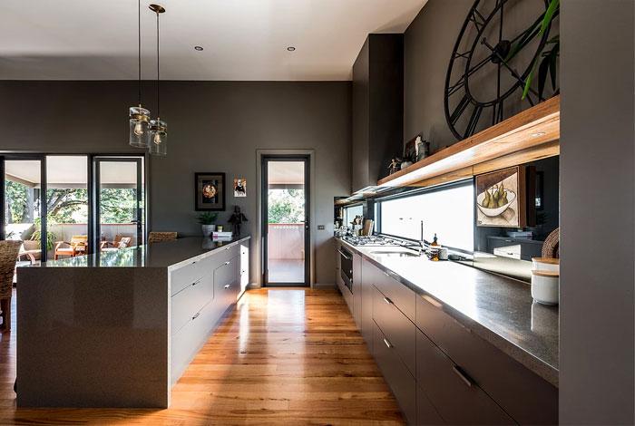 galley kitchen open concept