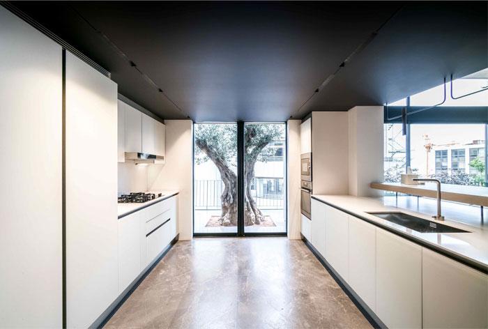 galley kitchen workspace