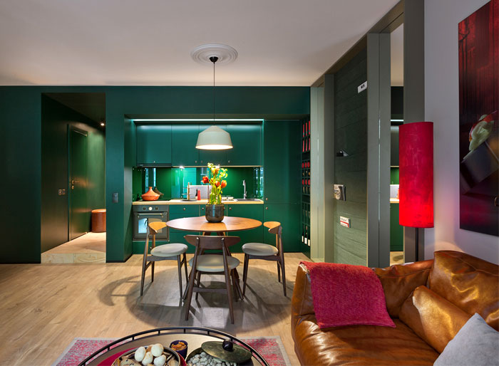 green colour palette kitchen open concept