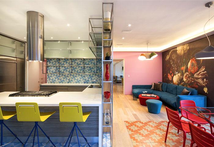 open plan kitchen blue tile decor