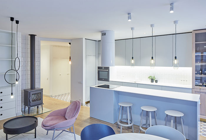pastel living room kitchen