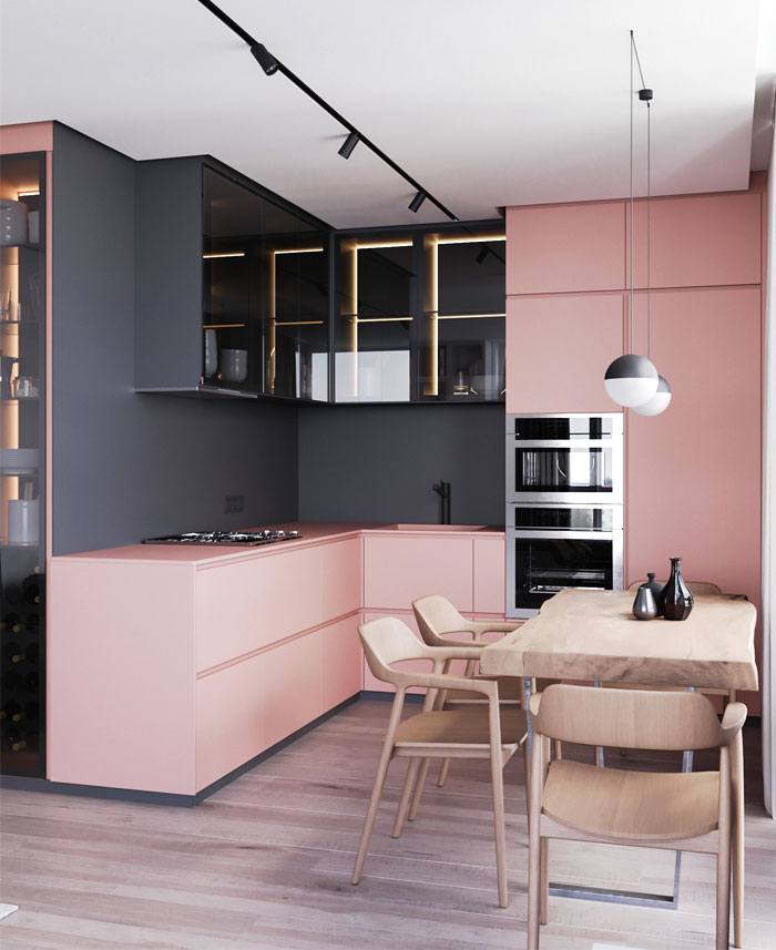 pink color small open concept kitchen