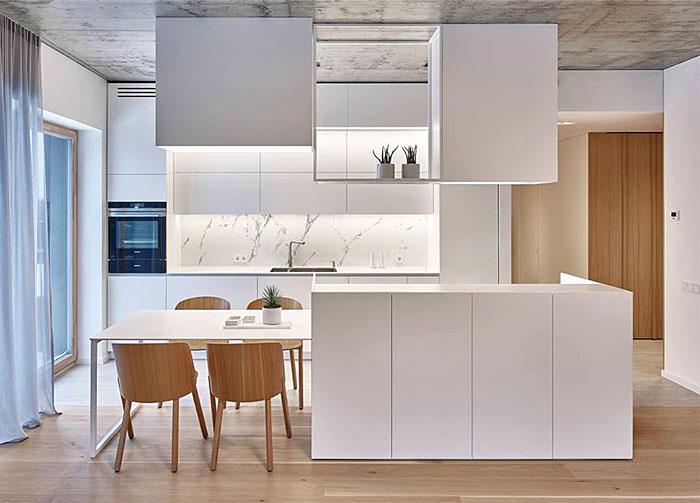 small white open plan kitchen