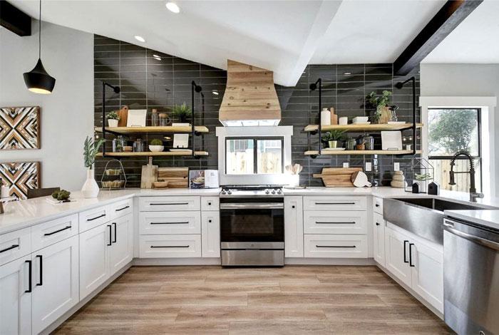 white u shaped kitchen