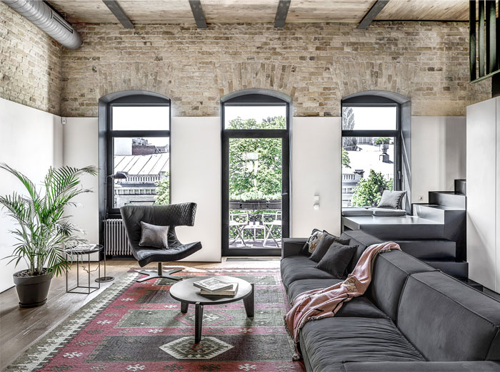 Trendy Loft Apartment with Exposed Brick Walls and Huge ...