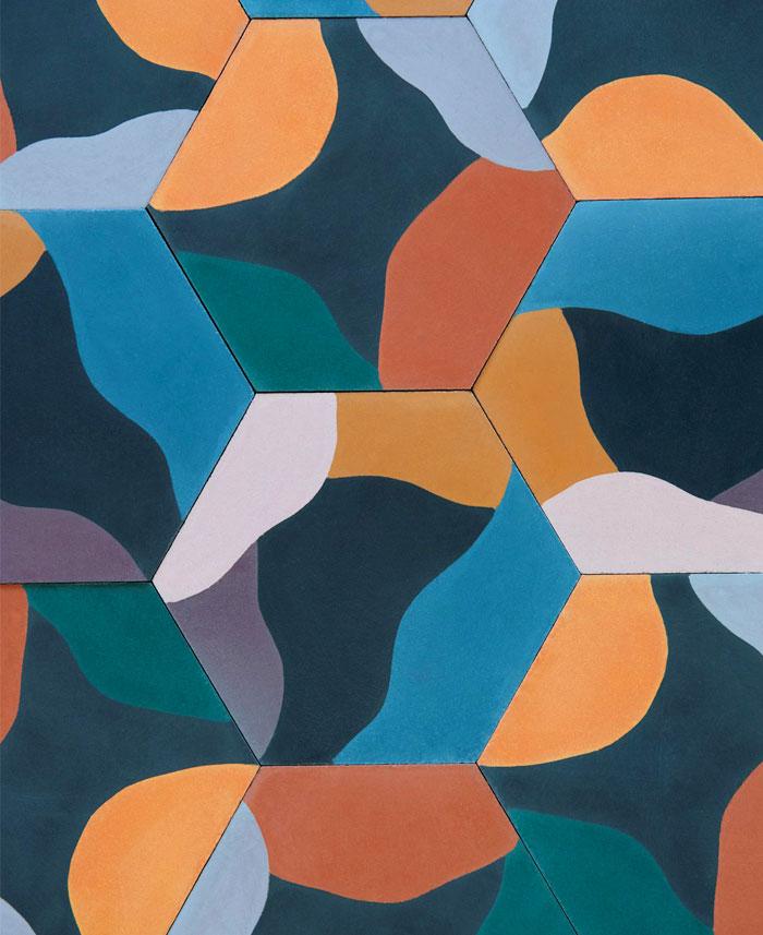 hexagonally shaped cement tiles juju papers 2