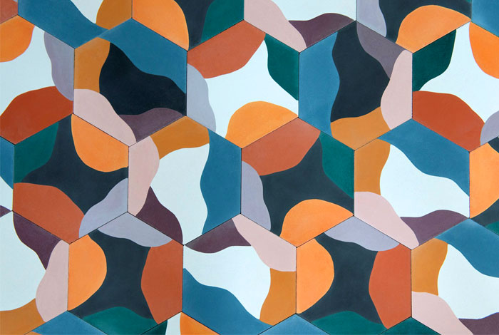 hexagonally shaped cement tiles juju papers 4