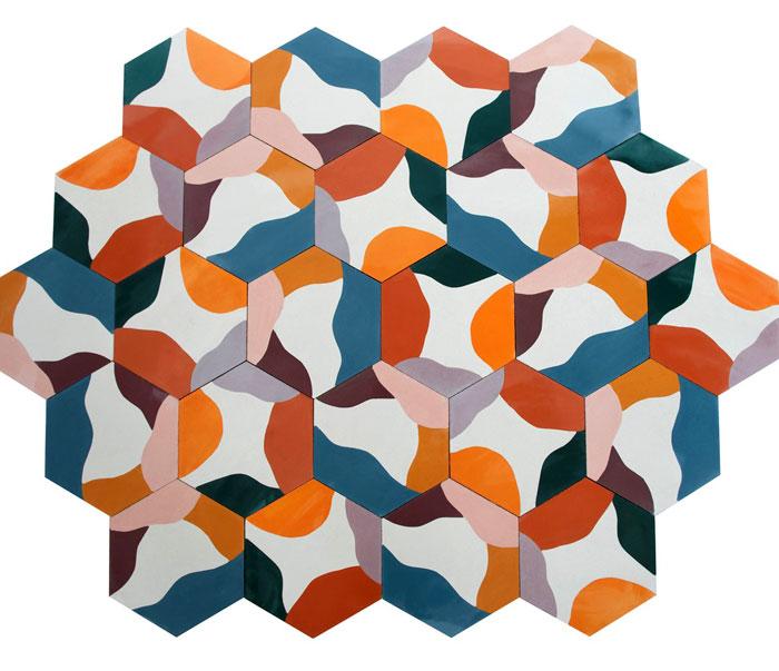 hexagonally shaped cement tiles juju papers 5
