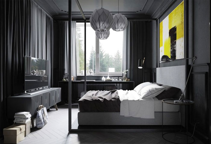 black wall bedroom canopy bed