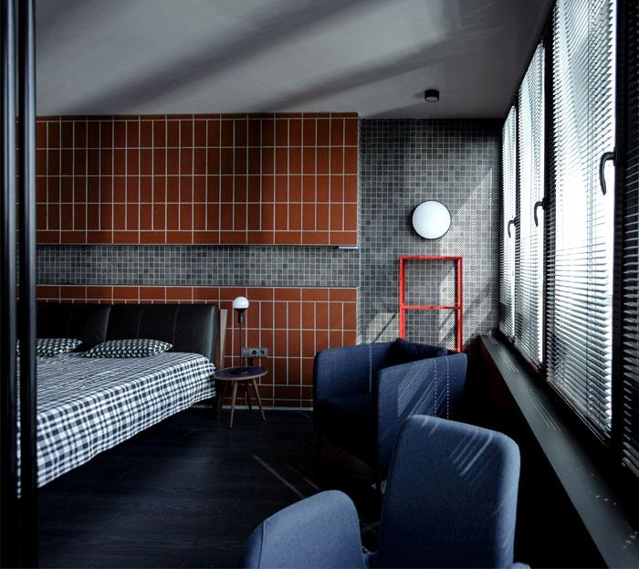 masculine space bedroom decor terracotta tile