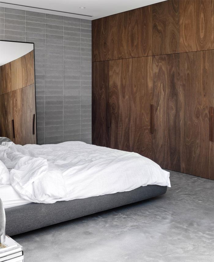 natural materials bricks modern mans bedroom