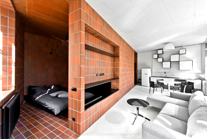 natural materials terracotta modern mans bedroom