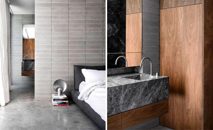 natural materials timber bricks modern mans bedroom