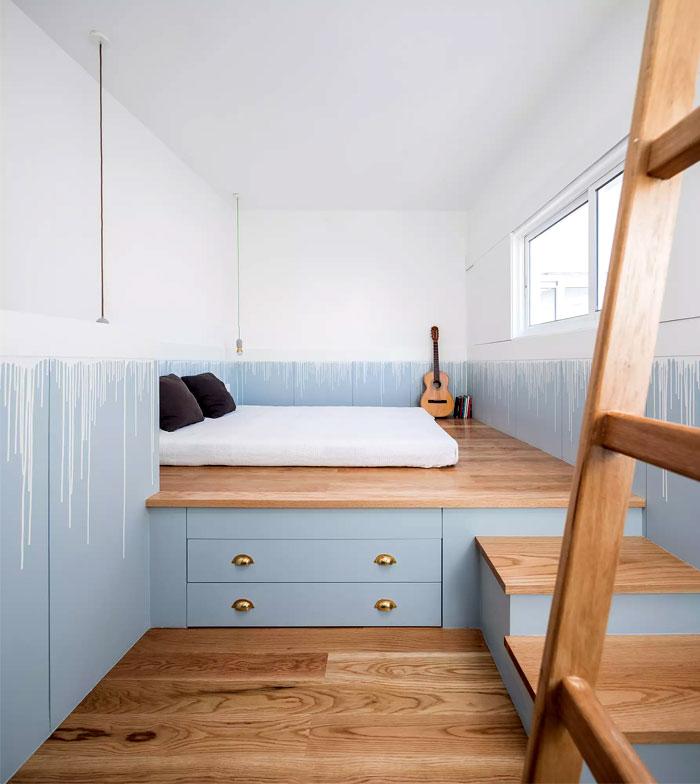 platform storage bed mens small bedroom