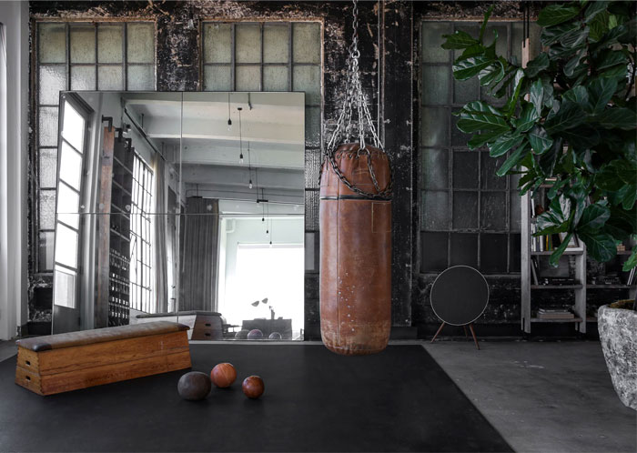 gym minimal space punching bag