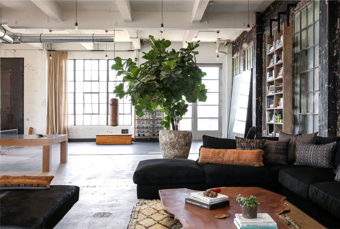 venice loft industrial decor home gym 1