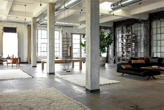 venice loft industrial decor home gym 2