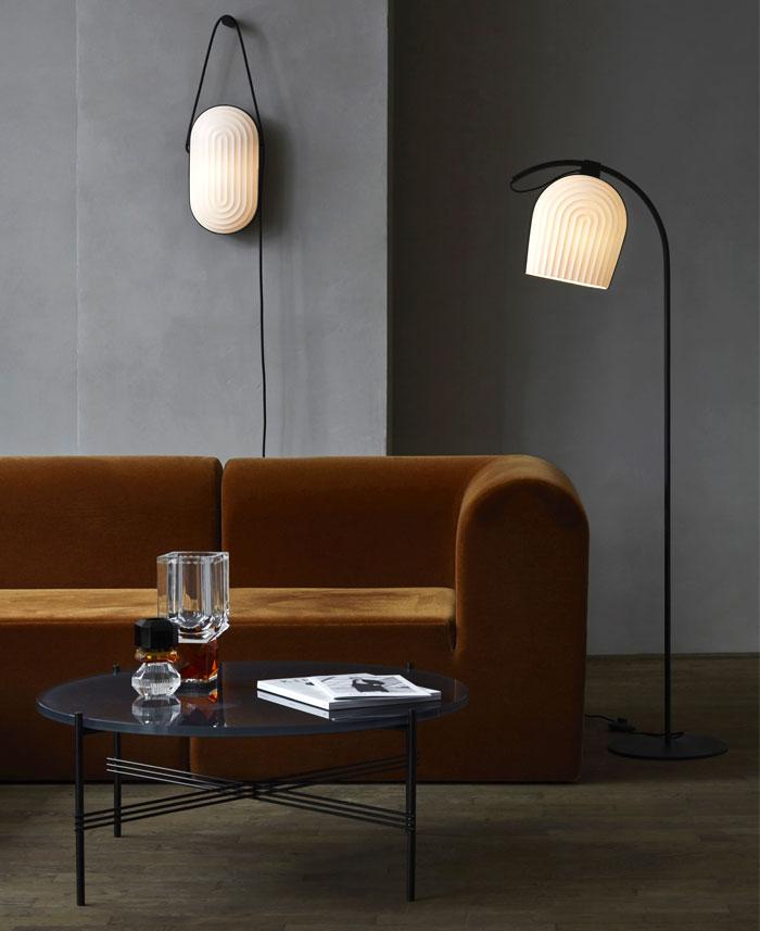 luxury velvet oblong volumes sofa 80s