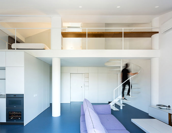 A Flexible Box Defines Spaces at Two Story Loft - InteriorZine on 1 bedroom loft house plans, fireplace house plans, 2 bedroom loft house plans, simple loft house plans, small loft house plans,